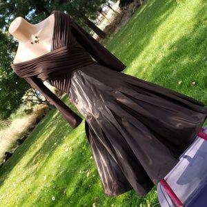 TADASHI Shoji Formal Pleated A Line Dress Sz 6